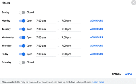 Screenshot of Updating hours in your Google My Business listing